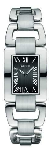 Alfex-5632_ 054Damen-Armbanduhr-Quarz Analog-Zifferblatt schwarz Armband Stahl Grau