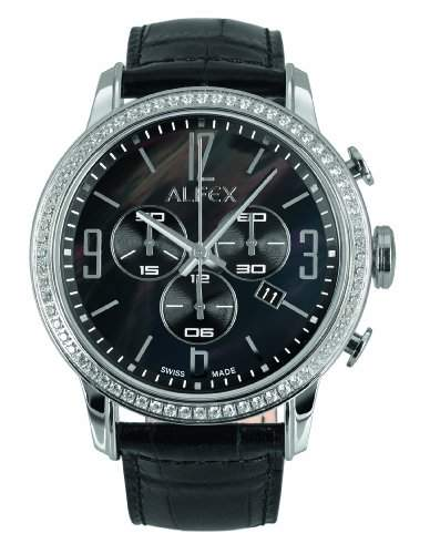 Alfex-5671_ 788Damen-Armbanduhr-Quarz Chronograph-Ziffernblatt Perlmutt-Armband Leder Schwarz