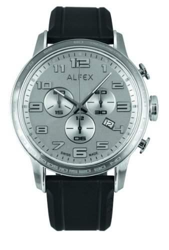 Alfex-5672_ 053-Armbanduhr-Quarz Chronograph-Zifferblatt Grau-Armband Gummi schwarz