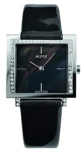 Alfex-5684_ 821Damen-Armbanduhr-Quarz Analog-Ziffernblatt Perlmutt-Armband Leder Schwarz