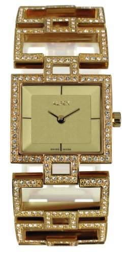 Alfex-5685_ 817Damen-Armbanduhr 045J699Analog beige Armband Stahl vergoldet Gold