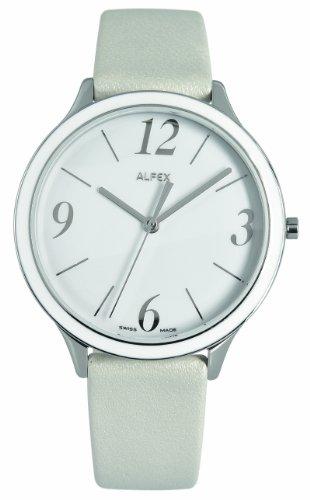 Alfex 5701 851 Damen Armbanduhr Quarz Analog Armband Haut weiss