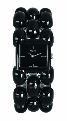 Alfex 5681 769 Quarz Analog Armband Edelstahl schwarz
