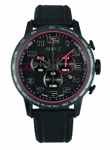 Alfex 5672 782 Armbanduhr Quarz Chronograph Zifferblatt schwarz Armband Kautschuk schwarz