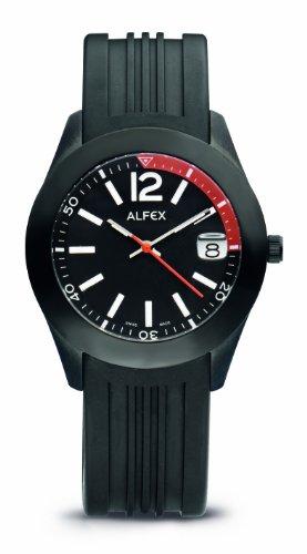 Alfex 5648 696 Armbanduhr Quarz Analog Zifferblatt schwarz Armband Kautschuk schwarz