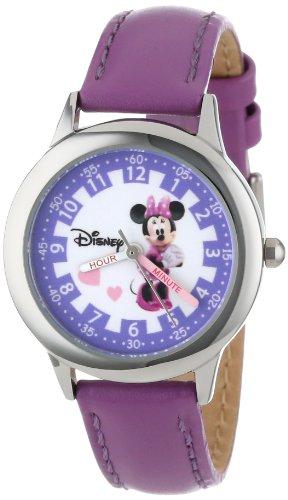 Disney by Ewatchfactory Unisex Armbanduhr Time Teacher Lernuhr Leder violett W000039