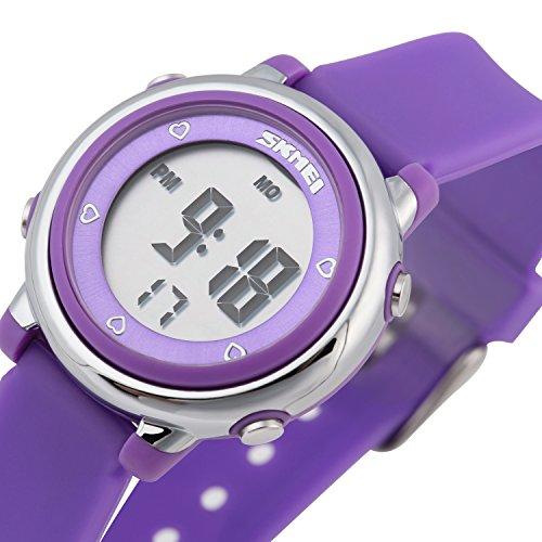 Besser Line Digital LCD Kinder Armbanduhr Band mit stundensignal taeglicher Alarm Kalender und Funktionen lila