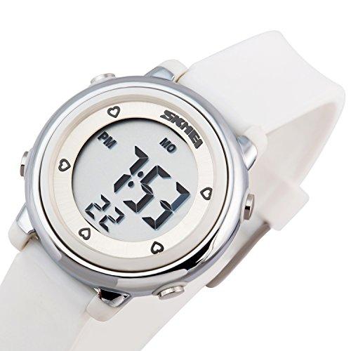 Besser Line Digital LCD Kinder Armbanduhr Band mit stundensignal taeglicher Alarm Kalender und Funktionen weiss