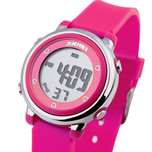 Besser Line Digital LCD Band mit stundensignal taeglicher Alarm Kalender und Funktionen Rose Rot