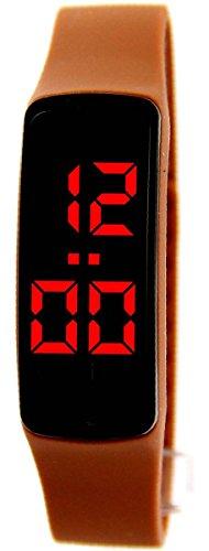 Futura Uhr Armbanduhr angesagte LED Silikon Braun 243