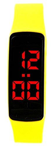 Futura Uhr Zeigt Herren Nicht Teuer LED Silikon Gelb 2443