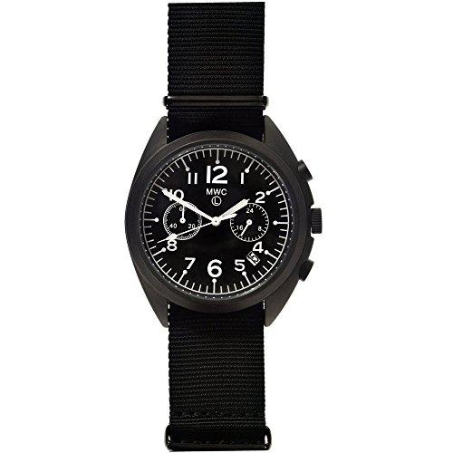 MWC NATO Muster Military Cronograph Hybrid Uhrwerk Automatik Quarz Inox Stahl 316L PVD schwarz Stoff Datum
