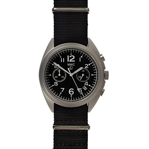 MWC NATO Muster Military Cronograph Hybrid Uhrwerk Automatik Quarz Inox Stahl 316L Schwarz Stoff Datum