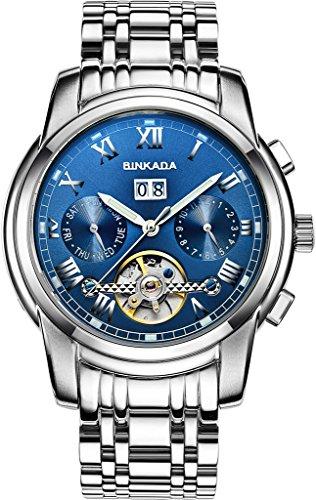 binkada aussergewoehnliche fuer Mann Automatischer Aufwicklung Kleid Blue Dial Herren Armbanduhr 7062l01 3