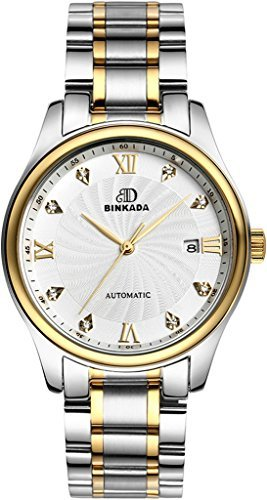 binkada Classic Automatic Mechanische Weiss Kleid Zifferblatt Herren Armbanduhr 7001 m01 3