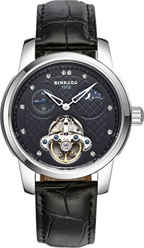 binkada Automatische Mechanische Tourbillon schwarz Zifferblatt Herren Armbanduhr 800302 2