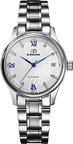 binkada Funky Automatische Mechanische weisses Zifferblatt Damen Armbanduhr 7001 W03 1