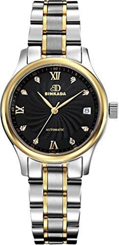 binkada 3 Zeiger automatische mechanische schwarz Zifferblatt Damen Armbanduhr 7001 W03 4