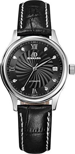 binkada 3 Zeiger automatische mechanische schwarz Zifferblatt Damen Armbanduhr 7001 W04 2