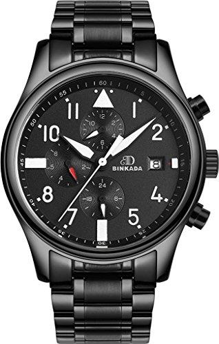 binkada Mode automatische mechanische Zifferblatt schwarz Herren Armbanduhr 7001h01 1
