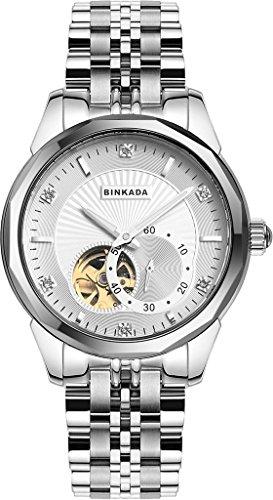 binkada Luxus automatische mechanische weisses Zifferblatt Herren Armbanduhr 808901 1