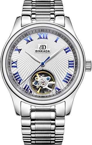 binkada Neuheit Automatische Mechanische weissen Zifferblatt Herren Armbanduhr 7001l01 1