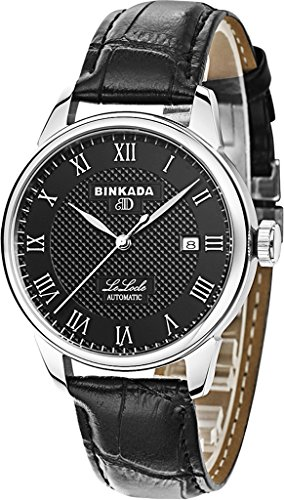 binkada 3 Zeiger automatische mechanische Kleid Schwarz Zifferblatt Herren Armbanduhr 700702 2
