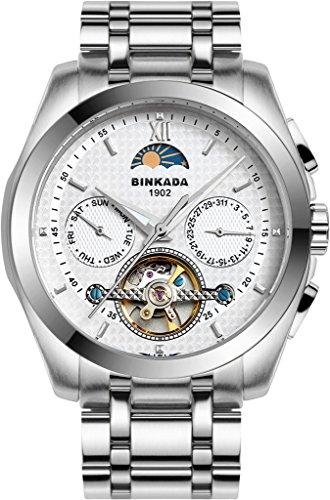 binkada Automatische Mechanische weisses Zifferblatt Herren Armbanduhr 7033l01 1