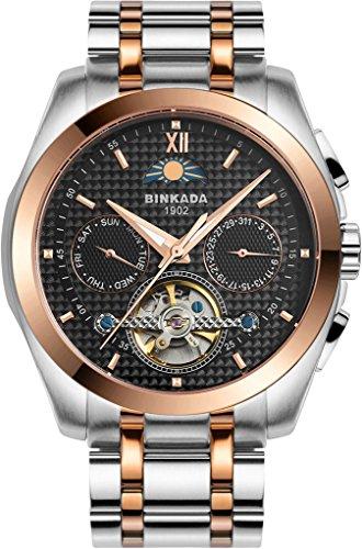 binkada Fashion 5 Zeiger automatische mechanische schwarz Zifferblatt Herren Armbanduhr 7033l01 4