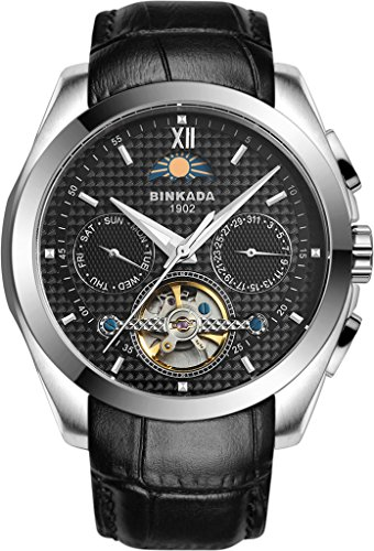 binkada 5 Zeiger automatische mechanische schwarz Zifferblatt Herren Armbanduhr 7033l02 2