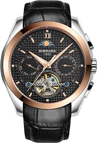binkada 5 Zeiger automatische mechanische schwarz Zifferblatt Herren Armbanduhr 7033l02 4