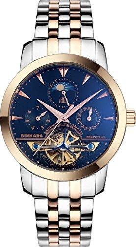binkada Fashion 6 Zeiger automatische mechanische schwarz Zifferblatt Herren Armbanduhr 705601 4