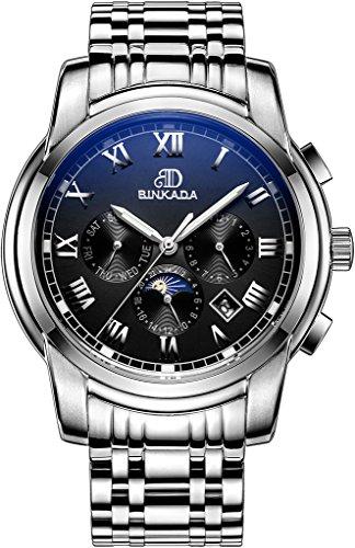 binkada 6 Zeiger automatische mechanische schwarz Zifferblatt Herren Armbanduhr 7062b01 2