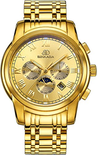 binkada 6 Zeiger automatische mechanische gold Zifferblatt Herren Armbanduhr 7062b01 5
