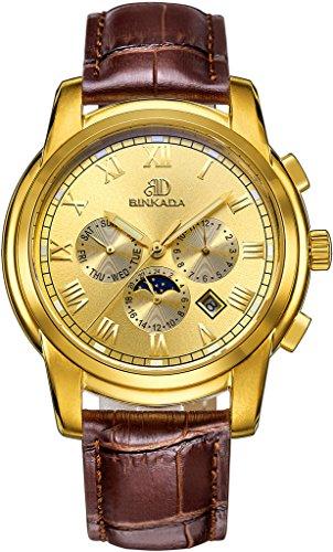binkada 6 Zeiger automatische mechanische gold Zifferblatt Herren Armbanduhr 7062b02 5