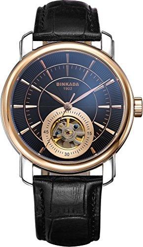 binkada 3 Zeiger automatische mechanische schwarz Zifferblatt Herren Armbanduhr 708102 4
