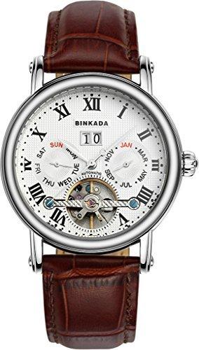 binkada Mode automatische mechanische weisses Zifferblatt Herren Armbanduhr 800602 1