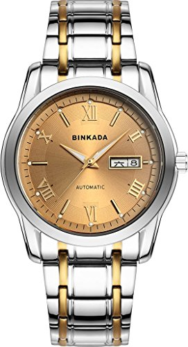 binkada 3 Zeiger automatische mechanische Golden Zifferblatt Herren Armbanduhr 820501 5