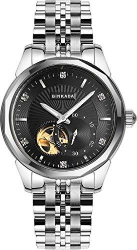 binkada Automatischer Aufwicklung schwarz Zifferblatt HIS Herren s Armbanduhr 808901 2
