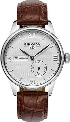 binkada 3 pointer Automatischer Aufwicklung weiss Zifferblatt Herren Armbanduhr 7007b02 1