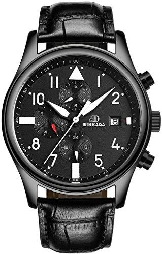 binkada beliebtes Automatische Mechanische Schwarz Zifferblatt Herren Armbanduhr 7001h02 1