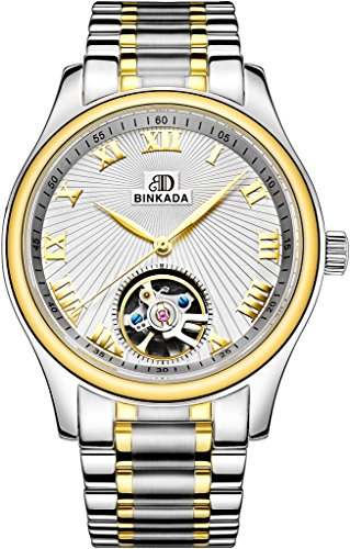 binkada beliebtes Automatische Mechanische weisses Zifferblatt Herren Armbanduhr 7001l01 3