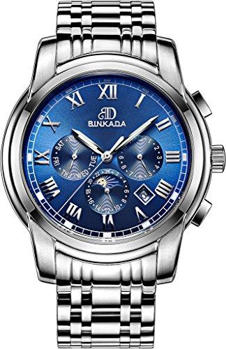 binkada Moderne Automatische Mechanische Blue Dial Herren Armbanduhr 7062b01 3