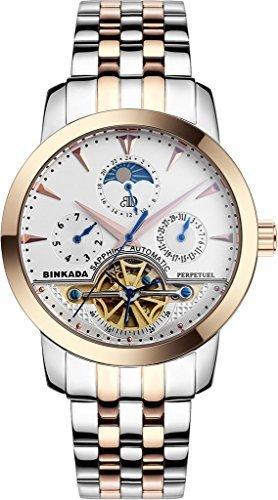 binkada Discount Mechanische weisses Zifferblatt Herren Armbanduhr 705601 3