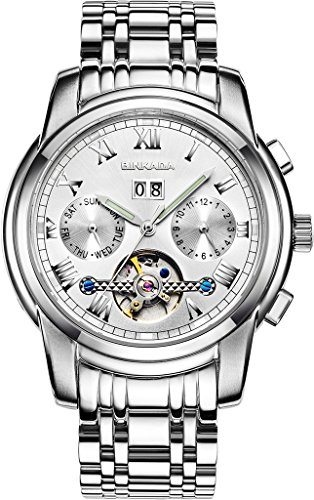 binkada Mechanische weisses Zifferblatt Classic Automatic Herren Armbanduhr 7062l01 1