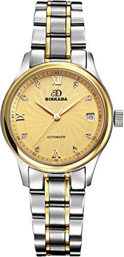 binkada 3 pointer self motion Kalbsleder Band Gold Zifferblatt Damen Armbanduhr 7001 W03 5