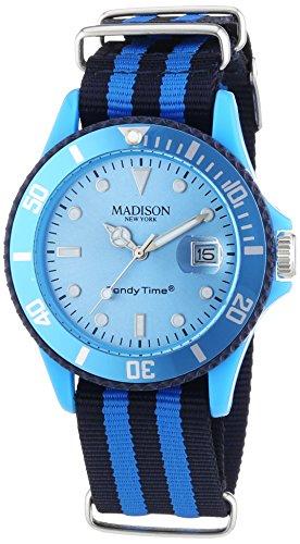 MADISON NEW YORK Unisex Armbanduhr Candy Time Sailor Analog Quarz Nylon U4616 06 1