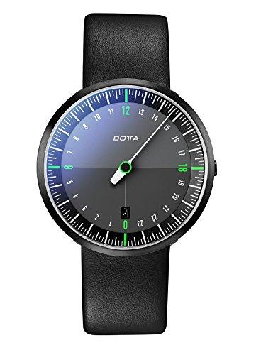 Botta Design 24 Stunden Einzeigeruhr UNO 24 NEO Black Edition Analog Quarz Lederband schwarz BE228010