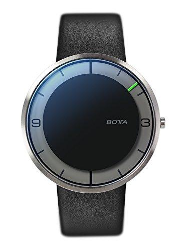 Botta Design Einzeigeruhr NOVA Analog Quarz Lederband schwarz 759010