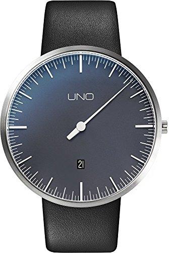 Botta Design UNO Jubilaeumsedition Armbanduhr Einzeigeruhr Edelstahl perlschwarzes Zifferblatt Datum Lederband